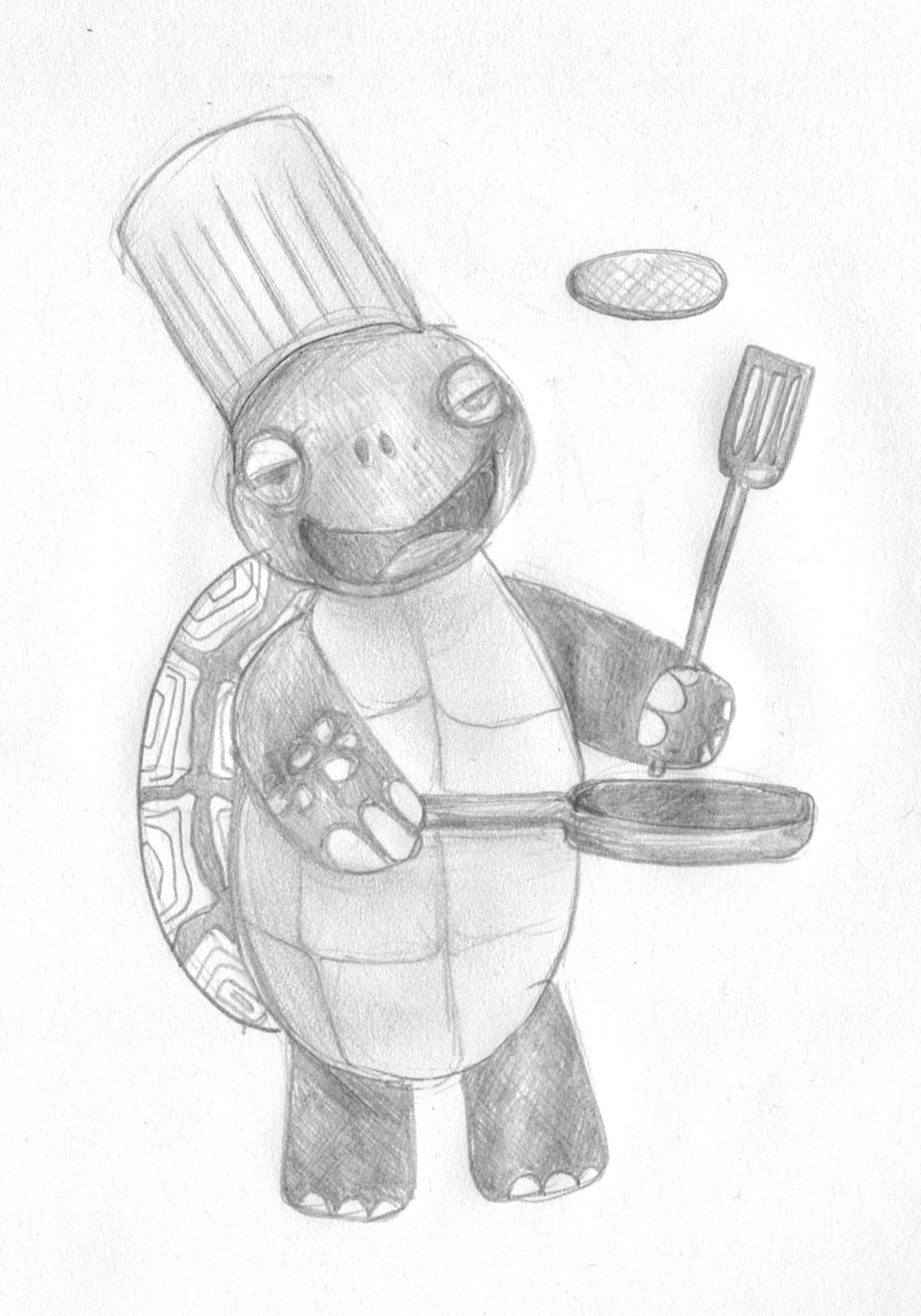 A very special turtle cooking pancakes while wearing a chef hat